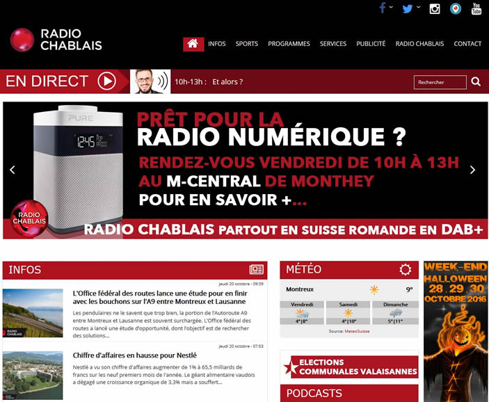 Radio Chablais, Sendegebiet Monthey, Chateaux-d'Oex