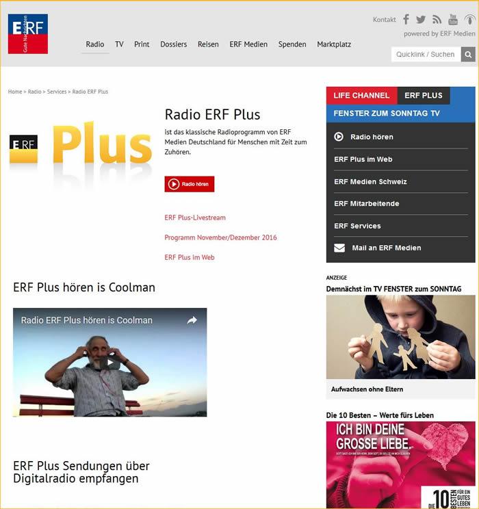 Radio ERF Plus ist das klassische Radioprogramm von ERF Medien Deutschland für Menschen mit Zeit zum Zuhören.