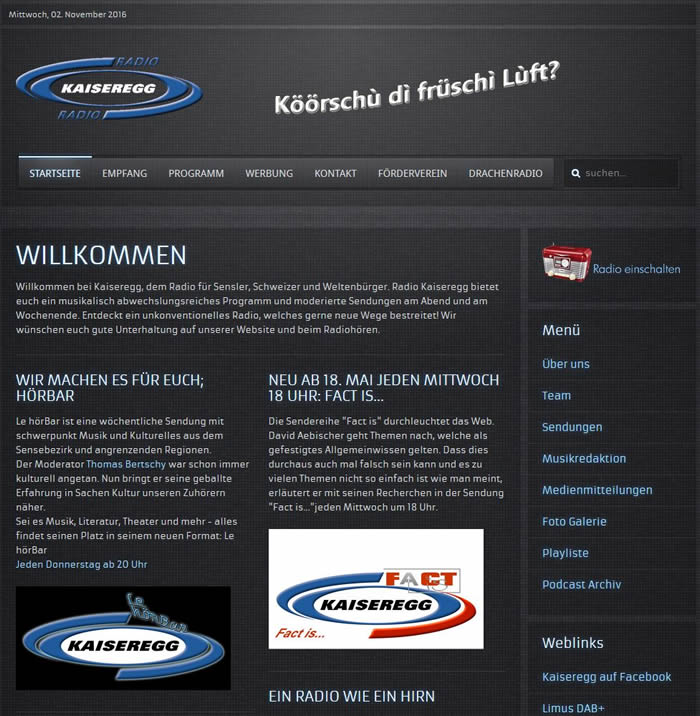 Radio Kaiseregg, ein nichtkommerzielles Lokalradio im Sensebezirk des Kantons Freiburg und Mitglied der UNIKOM.