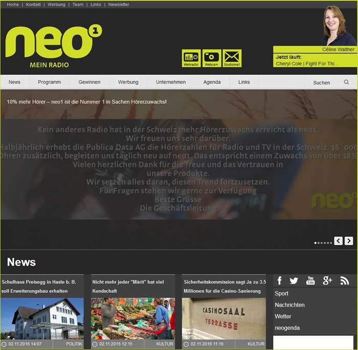 neo1 ist ein Regionalradio, das in den Kantonen Bern und Luzern sendet
