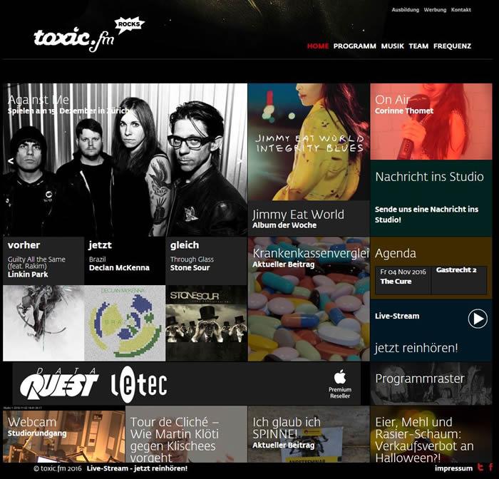 toxic.fm ist ein Rockradio. Gespielt werden Rocksongs aus den letzten 20 Jahren (Modern Rock).